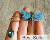 dragonfly brooch, best selling dragonfly shawl pin brooch, patina dragonfly kilt pin brooch