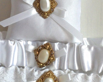 """Gold and White Ring Bearer Pillow, small simple bridal pillow, gold button white ribbon -- approx. 3"""" square"""