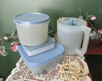 Tupperware Containers Set of 4 with Blue Lids Include Round Canister, Sandwich Keep, Pitcher, and a Square with Grid