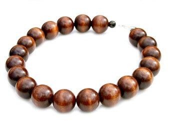 Chunky Wood Bead STATEMENT Necklace Mocha Cafe Coffee Reclaimed Wood Gorgeous Round Woodland Boho Chic Natural Necklace by Mei Faith