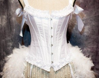 WHITE SWAN Wedding Corset Burlesqoe Costume bridal dress feather train bustle