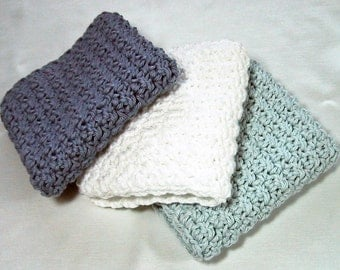 Large Bath Cloths Super Soft - Set of 3 - Bath/Shower/Spa - Hand Crocheted with Cotton Yarn - Shades of Blue - Nice Gift or Pamper Yourself