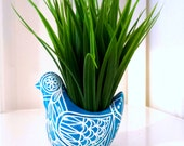 Bird Planter Ceramic Painted Turquoise Blue White Polish Folk Art Home Decor Vase Painted Tattoo Flowers Hearts - MADE TO ORDER