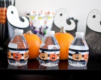 Halloween Water Bottle labels - 7 labels per sheet - Digital File - Download and Print