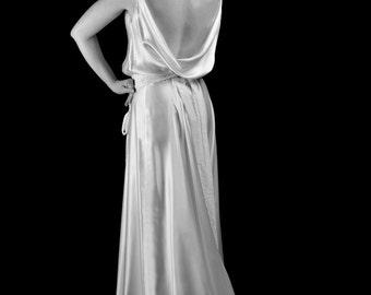 1930 - Silk Satin Bias Cut Old Hollywood Wedding Dress  - Made to Order - FREE SHIPPING WORLDWIDE
