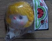 "vintage 80s Darice plastic doll head and hands yellow Braided yarn hair approx 4 1/2"" NIP  Dumplin Mitzy Tu tti Frutti  t#007"