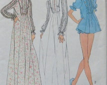 vintage 70s simplicity pattern 7237 misses nightgown in 2 lengths and panties sz medium 12-14 tucked sleeves front tucks to inset4