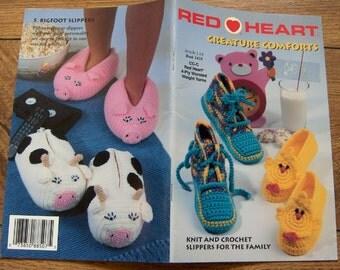 1996 Crochet knitting patterns SLIPPERS Baby Children Adult