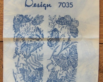 vintage 60s 70s embroidery  transfer pattern 7035 BUTTERFLY PANELS uncut