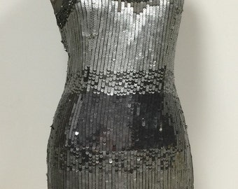 Sexy Sequin Cocktail Dress - Gray Silver Black Ombre Sequin Tank Dress - Vegas - Flashy - Gunmetal Gray Metallic Silver Black - 34 Bust