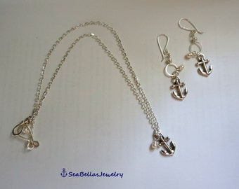 Jewelry set Anchor Antique silver plated Necklace and Earrings set bridal party, wedding party, beach wedding,mother's day, gift for her