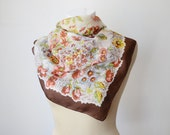 Vintage 50s Tissue Thin Brown Floral Square Silk Scarf