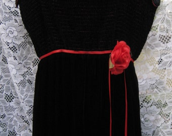Larger VELVET RED ROSE Black Velvet dress with spaghetti straps dress gown of tube top halter dress, adult ladies black tie formal gown