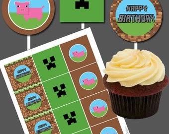 DIY Printable Boys Happy Birthday Cupcake Toppers Pig farm Video Game Cake Stickers Boys Birthday Themed Tag Label Inspired by Minecraft
