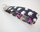 Key FOB / KeyChain / Wristlet  - soft dark navy Black with White Elephants with boho stripes - coworker gift mothers day under 10