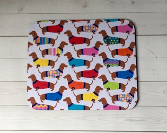 Mouse Pad mouse pad / Mat -  Dachshunds in sweaters  -  round or rectangle - office accessories desk home deco