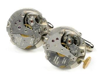 Vintage Round Watch Movement Steampunk  Cuff Links