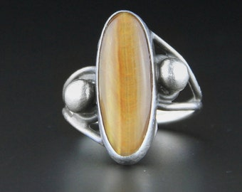 Tigers Eye Ring, Navajo Ring, Native American Jewelry, Vintage Ring, Sterling Silver RingSize 8 or P