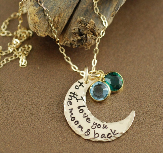 I Love you to the Moon and Back Necklace, Hand Stamped Necklace, Moon and Back Jewelry, Personalized Crescent Moon Necklace