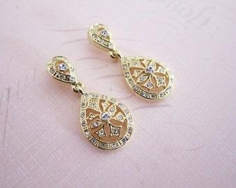 Gold Art Deco earrings, Vintage Style Wedding Earrings, Gold Wedding earrings, Vintage Teardrop Earrings, 1920s earrings - 'DECO PETITE'