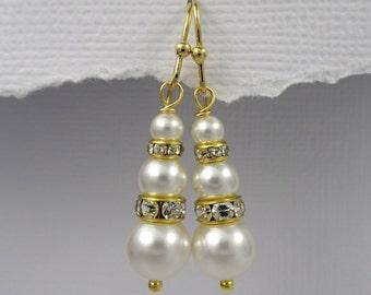 Gold Plated Swarovski Ivory Pearl Earrings, Bridal Earrings, Bridesmaid Earrings, Bridesmaid Gift, Ivory Pearl Wedding Earrings
