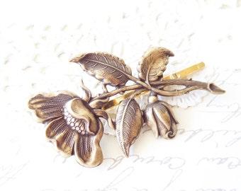 Ox Brass Flower Hair Pin - Big Flower Bobby Pin - Flower Blossom Hair Pin - Leaf Hair Pin - Woodland Hair- Whimsical - Bridal Hair Pin