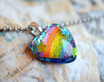 Rainbow Heart Resin Pendant Necklace Heart Jewelry Sparkly Resin Jewelry