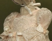 "Angela West Christening Gown ""Rosanna"" limited edition .Ivory with pink organza accessories and monogram included"
