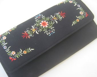 Vintage Clutch Purse Black Floral Embroidery