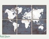 Large Distressed World Map Print - Antique Wood World Map Art on Wood Panels