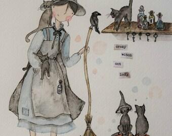 Crazy witch cat lady - fine art print - cat fundraising