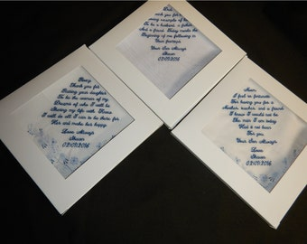 3 Wedding handkerchiefs - FREE SHIPPING - 2 with poems and 1 under 40 words - gift boxes.