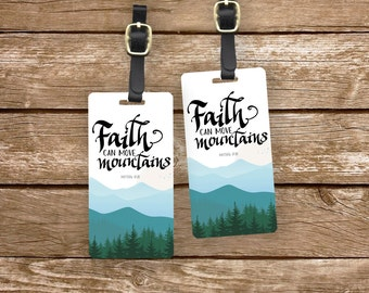 Personalized Luggage Tags Bible Verse Matthew 17:20  Faith Can Move Mountains - Metal Tags with Printed Personlization