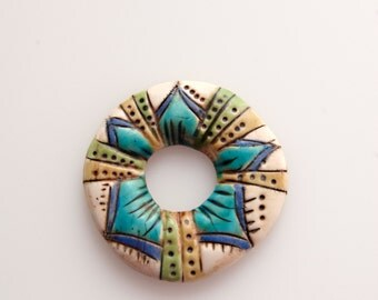Geometric Rustic Boho Donut Washer/Connector Bead in Greens and Blues