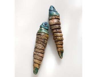 Distressed Rustic Primitive Pod Spike Beads with Blue Tops