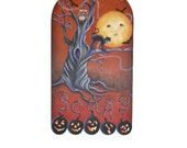 "Hand Painted Halloween ""Scary""  Plaque"