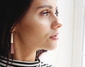 Leather Earrings - Brass Earrings - Minimalist Earrings - Dangle Earrings - Nickel Free Earrings - Boho Chic Earrings - Post Earrings