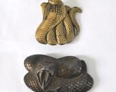 Distressed Vintage Belt Buckle Snakes Cobra Unisex 70s 80s Biker Trucker Punk Heavy Metal Rock n Roll usa
