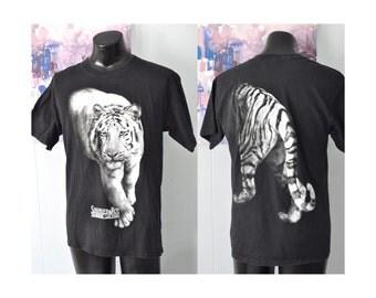 Vintage Tee Siberian White Tiger Siegfried Roy Mirage Nevada Las Vegas Faded Black TShirt Nature Science Animals Lion LARGE
