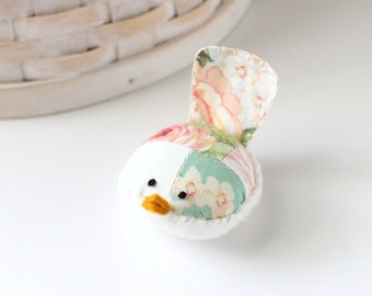 Pink and Teal Bird Pincushion Floral Pin Keep Small Pin Cushion Floral Handmade Pincushion
