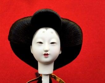Japanese Doll Head - Hina Matsuri - Doll Festival -  Girl Hina Ningyo  - Girl Doll Head - Woman Doll Head - D8-12
