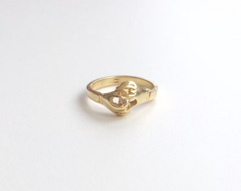 V I N T A G E // 14k / Fede Gimmel ring / yellow gold / Claddagh / size 5.5