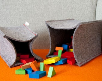 Wool Felt Storage Baskets - Natural Gray, Three Sizes Available, Tall Baskets