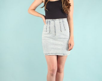 Vintage 80s Acid Wash Denim Mini Skirt Acid Wash Jordache High Waist size 5 / 6