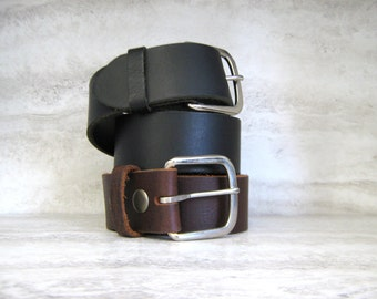"High Quality Snap on Belt for Buckle in Black or Brown - Top Grain Italian Leather Snap on Belt 1.5"" /3.8cm size sm, med, lg, xl)"