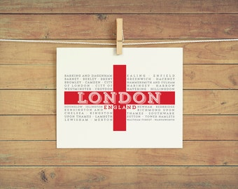 London Boroughs instant download printable wall art 8x10 - London England - England Flag - St. George's Cross