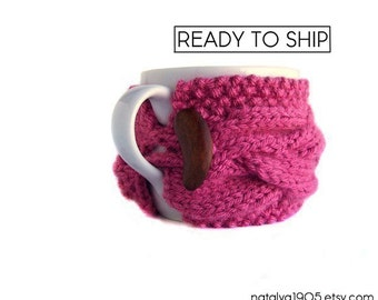 Tea Cozy, Coffee Cup Sleeves, Coffee Cozy, Coffee Cup Cozy, Pink Coffee Mug Cozy, Coffee Sleeve, Coffee Cup Sleeve, Coffee Decor, Tea Gifts