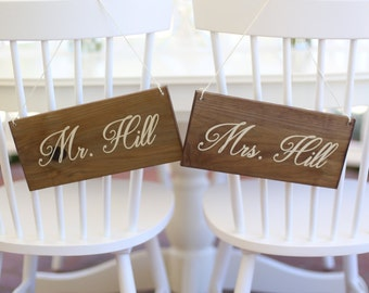 Personalized Wedding Chair Signs Calligraphy Font Rustic Wood (#NVMHDA1262)