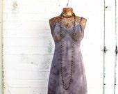 Medium Gothic Slipdress/Tie Dye Dress/altered couture/Gray Tie Dye Slip Dress/Vintage Slip/Upcycled clothing/Jerry Gracia Dress/Winter