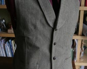 Vest with collar non Pleated  back for adult in wool  Made to your measurements Groom / groomsmen